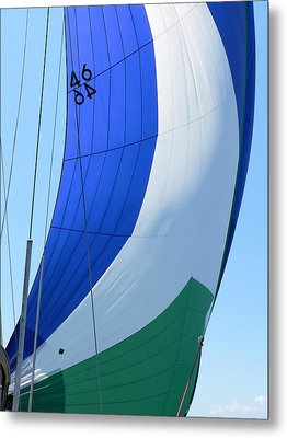 Raising The Blue And Green Sail Metal Print