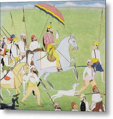 Rajah Dhian Singh Hunting Metal Print by Indian School