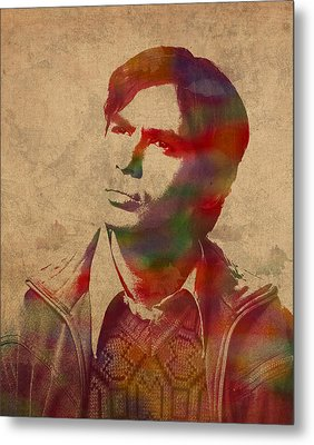 Rajesh Raj Koothrappali Big Bang Theory Watercolor Portrait On Distressed Worn Canvas Metal Print by Design Turnpike