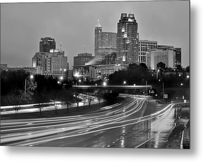 Metal Print featuring the photograph Raleigh Skyline At Dusk Evening Black And White Bw Evening Panorama North Carolina Nc by Jon Holiday