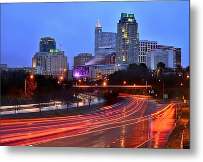 Metal Print featuring the photograph Raleigh Skyline At Dusk Evening Color Evening Panorama North Carolina Nc by Jon Holiday