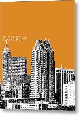 Raleigh Skyline - Dark Orange Metal Print by DB Artist