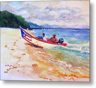 Rampeando At Crashboat Beach Aguadilla Puerto Rico Metal Print by Estela Robles Galiano