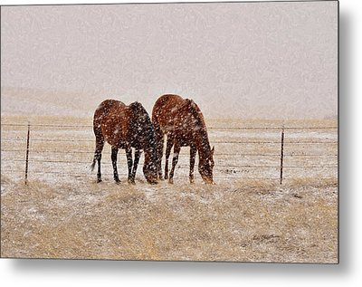 Ranch Horses In Snow Metal Print by Kae Cheatham