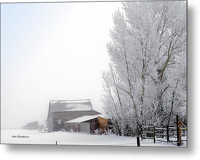 Ranch In Frozen Fog Metal Print by Kae Cheatham