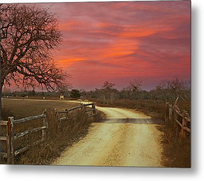 Ranch Under A Blazing Sky Metal Print by James Granberry