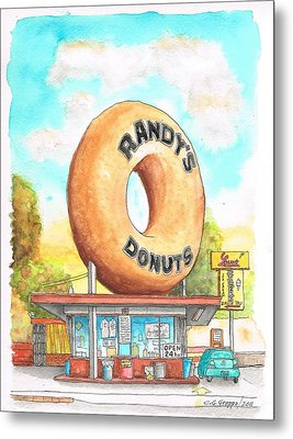 Randy's Donuts In Los Angeles - California Metal Print
