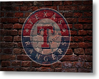 Rangers Baseball Graffiti On Brick  Metal Print by Movie Poster Prints