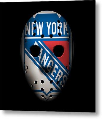 Rangers Goalie Mask Metal Print by Joe Hamilton