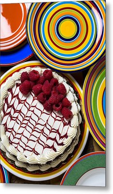 Raspberry Cake Metal Print by Garry Gay