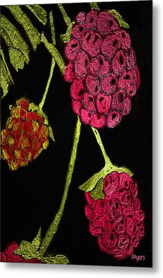 Metal Print featuring the painting Raspberry Fabric by Paula Ayers
