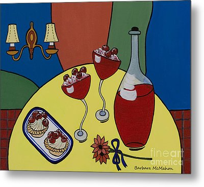 Metal Print featuring the painting Raspberry Wine by Barbara McMahon