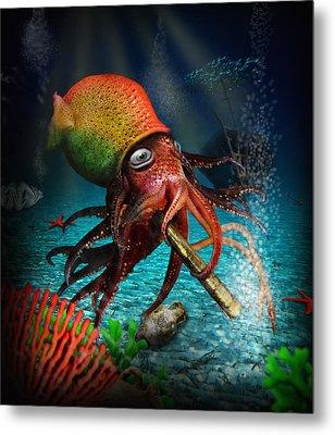 Rasta Squid Metal Print by Alessandro Della Pietra