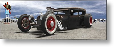 Rat Rod On Route 66 Panoramic Metal Print by Mike McGlothlen