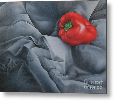 Metal Print featuring the painting Rather Red by Pamela Clements