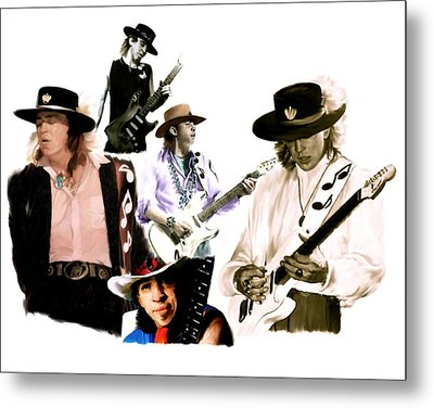 Rave On  Stevie Ray Vaughan Metal Print by Iconic Images Art Gallery David Pucciarelli