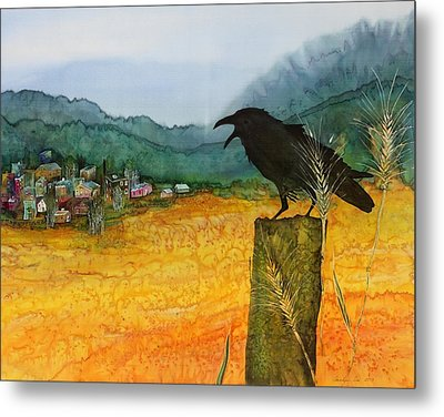 Raven And The Village 2 Metal Print by Carolyn Doe