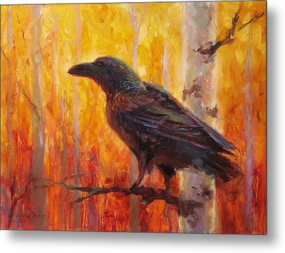 Raven Glow Autumn Forest Of Golden Leaves Metal Print by Karen Whitworth