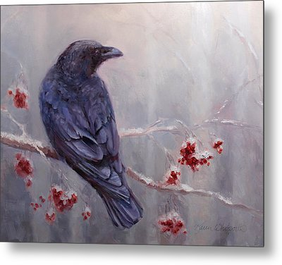 Raven In The Stillness - Black Bird Or Crow Resting In Winter Forest Metal Print by Karen Whitworth