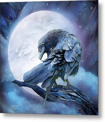 Raven Moon Metal Print by Carol Cavalaris