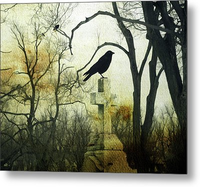 Raven On Cross Metal Print by Gothicrow Images