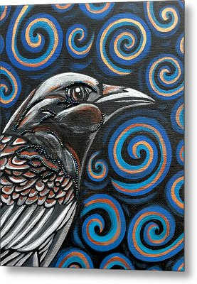 Metal Print featuring the painting Raven by Sarah Crumpler