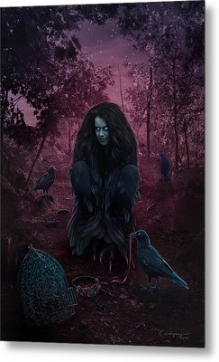 Raven Spirit Metal Print by Cassiopeia Art