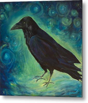 Space Raven Metal Print by Yulia Kazansky