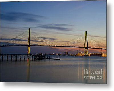 Metal Print featuring the photograph Ravenel Bridge Nightfall by Dale Powell