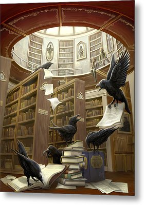 Ravens In The Library Metal Print by Rob Carlos