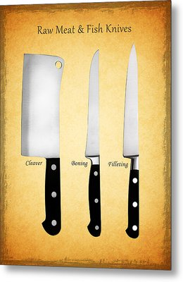 Raw Meat And Fish Knives Metal Print by Mark Rogan
