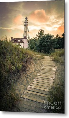 Rawley Point Lighthouse Under Smoldering Skies Metal Print