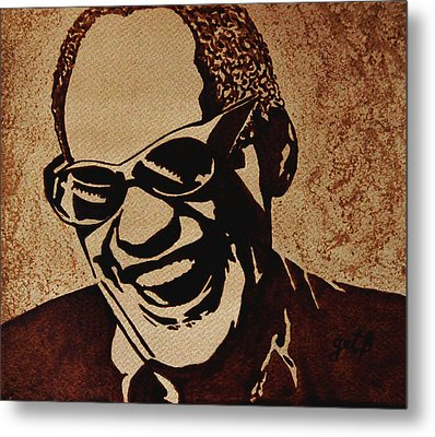 Ray Charles Original Coffee Painting Metal Print by Georgeta  Blanaru