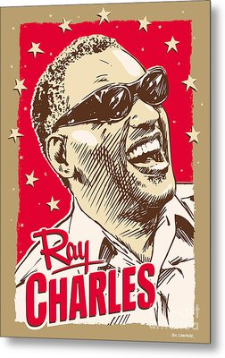 Ray Charles Pop Art Metal Print by Jim Zahniser