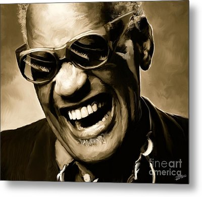 Ray Charles - Portrait Metal Print by Paul Tagliamonte