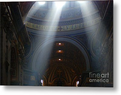 Rays Of Hope St. Peter's Basillica Italy  Metal Print by Bob Christopher