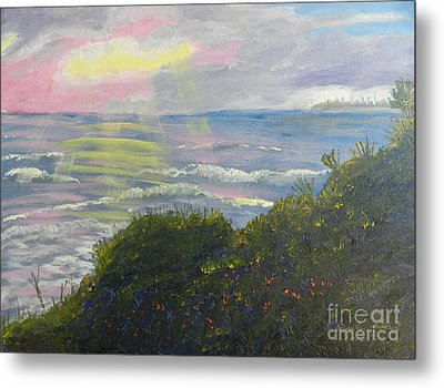 Rays Of Light At Burliegh Heads Metal Print by Pamela  Meredith