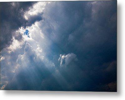 Rays Of Sunshine Through Dark Clouds Metal Print by Natalie Kinnear