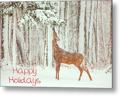 Reach For It Happy Holidays Metal Print by Karol Livote