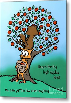 Metal Print featuring the drawing Reach For The High Apples by Pet Serrano