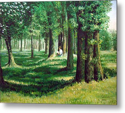 Metal Print featuring the painting Reader In The Park by Laila Awad Jamaleldin