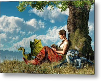 Reading About Dragons Metal Print