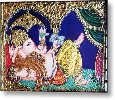 Reading Ganesha Metal Print by Jayashree