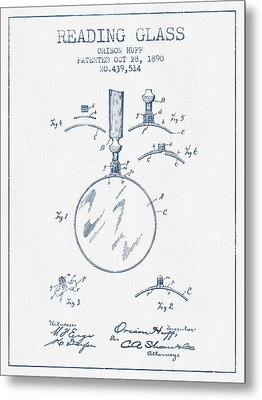 Reading Glass Patent From 1890- Blue Ink Metal Print by Aged Pixel