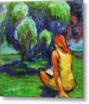 Metal Print featuring the painting Reading In A Park by Xueling Zou