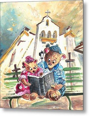 Reading The Bible In La Iruela In Spain Metal Print by Miki De Goodaboom