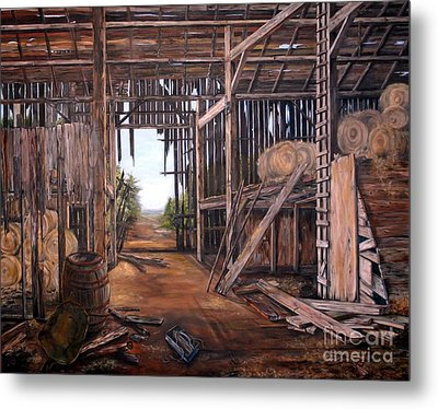 Metal Print featuring the painting Reads Barn Hwy 124 by Anna-maria Dickinson