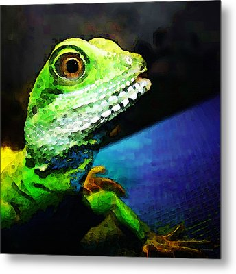 Ready To Leap - Lizard Art By Sharon Cummings Metal Print by Sharon Cummings