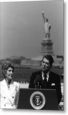 Reagan Speaking Before The Statue Of Liberty Metal Print by War Is Hell Store