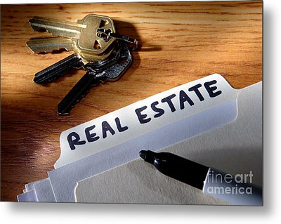 Real Estate File Folder With Marker And House Keys Metal Print by Olivier Le Queinec